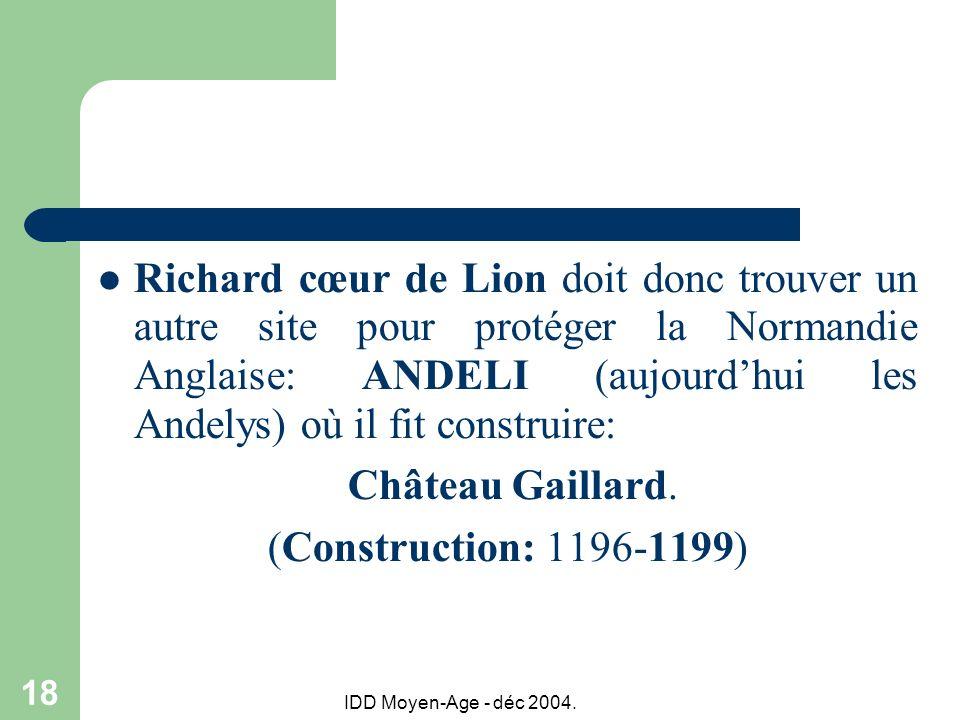 IDD Moyen-Age - déc 2004. 18 Richard cœur de Lion doit donc trouver un autre site pour protéger la Normandie Anglaise: ANDELI (aujourdhui les Andelys)