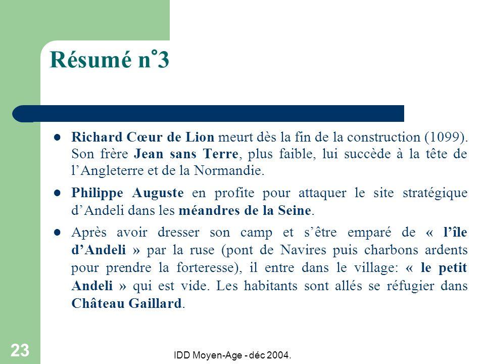IDD Moyen-Age - déc 2004. 23 Résumé n°3 Richard Cœur de Lion meurt dès la fin de la construction (1099). Son frère Jean sans Terre, plus faible, lui s