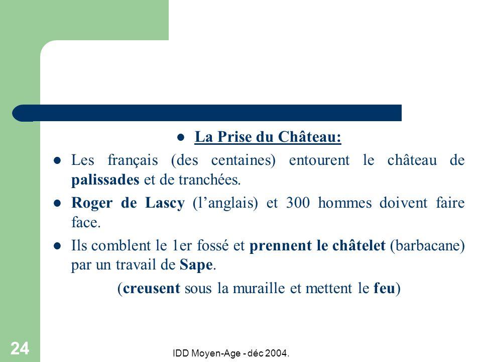 IDD Moyen-Age - déc 2004. 24 La Prise du Château: Les français (des centaines) entourent le château de palissades et de tranchées. Roger de Lascy (lan