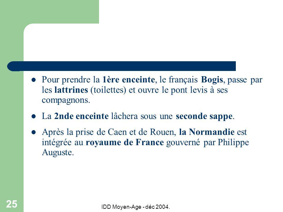 IDD Moyen-Age - déc 2004. 25 Pour prendre la 1ère enceinte, le français Bogis, passe par les lattrines (toilettes) et ouvre le pont levis à ses compag