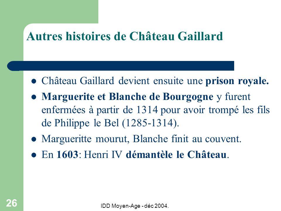 IDD Moyen-Age - déc 2004. 26 Autres histoires de Château Gaillard Château Gaillard devient ensuite une prison royale. Marguerite et Blanche de Bourgog