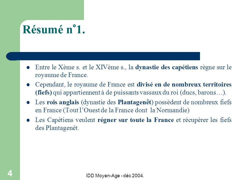 IDD Moyen-Age - déc 2004. 4 Résumé n°1. Entre le Xème s. et le XIVème s., la dynastie des capétiens règne sur le royaume de France. Cependant, le roya