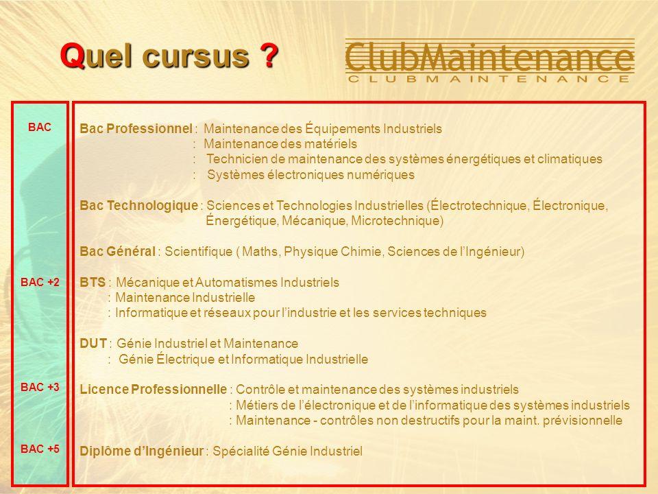 Bac Professionnel : Maintenance des Équipements Industriels : Maintenance des matériels : Technicien de maintenance des systèmes énergétiques et clima