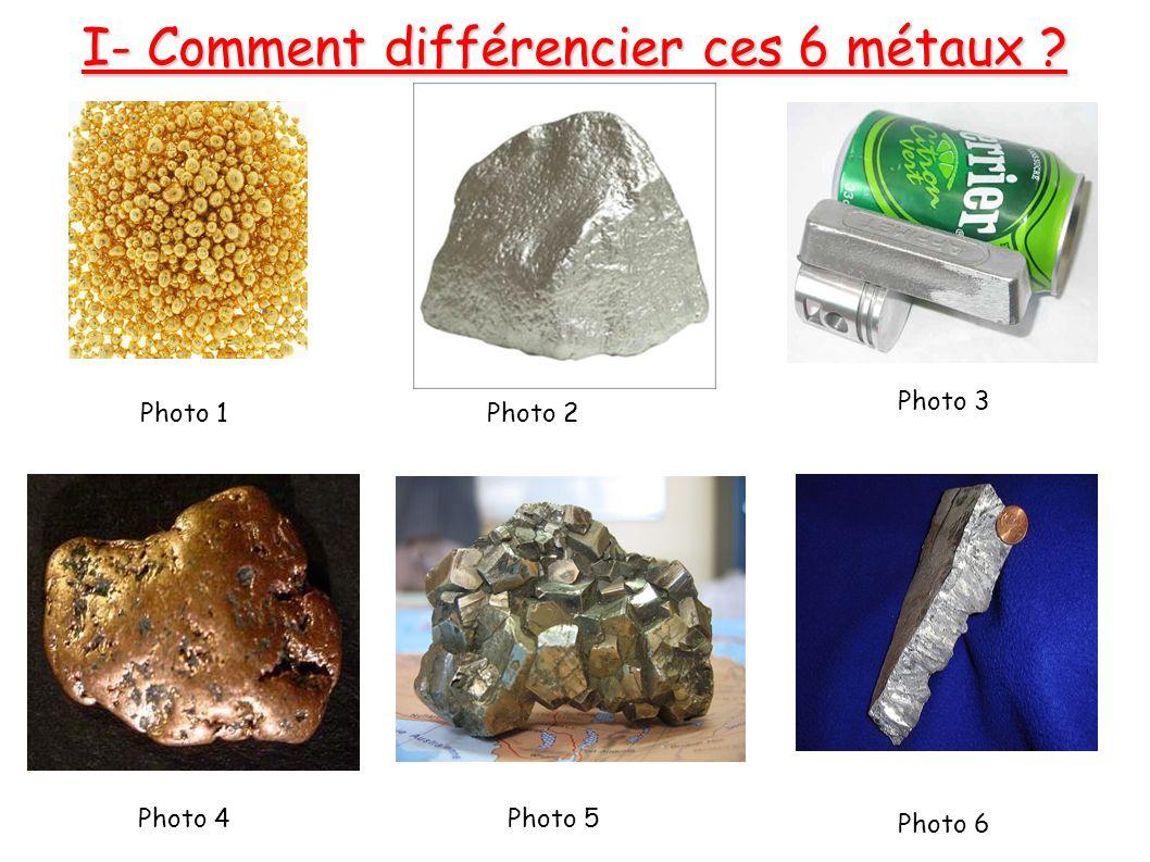 I- Comment différencier ces 6 métaux ? Photo 1Photo 2 Photo 3 Photo 4Photo 5 Photo 6
