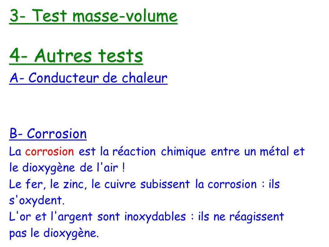 3- Test masse-volume 4- Autres tests A- Conducteur de chaleur B- Corrosion La corrosion est la réaction chimique entre un métal et le dioxygène de l air .