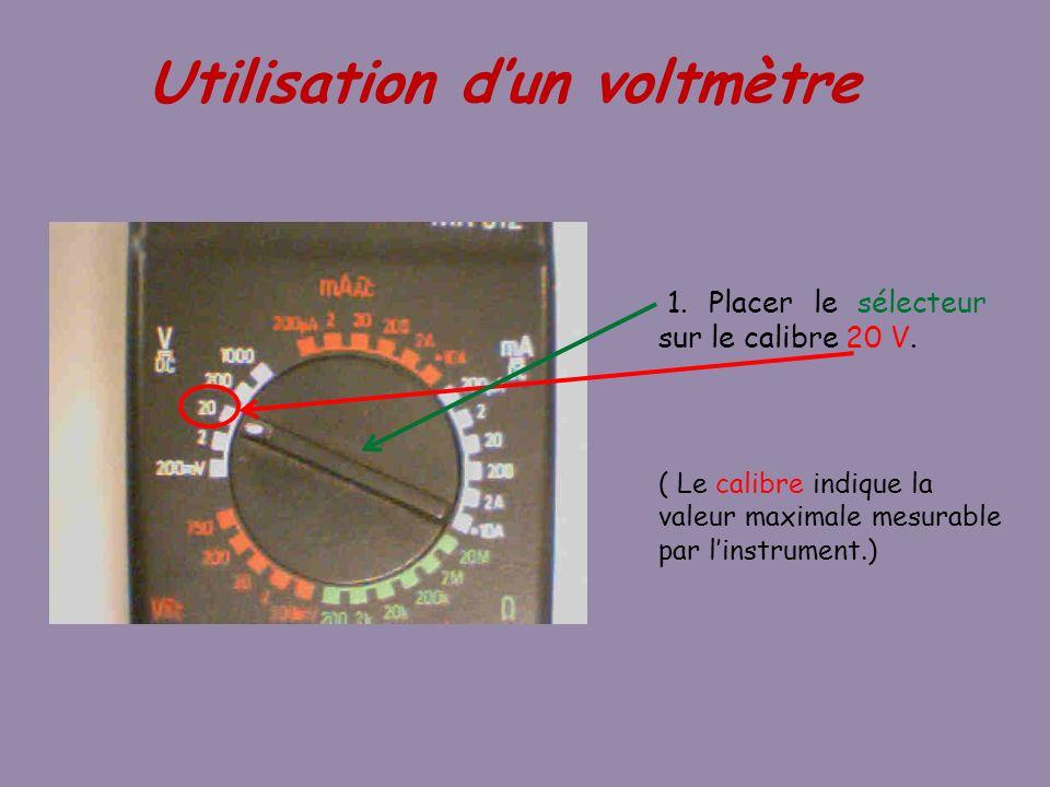 1. Placer le sélecteur sur le calibre 20 V. Utilisation dun voltmètre ( Le calibre indique la valeur maximale mesurable par linstrument.)