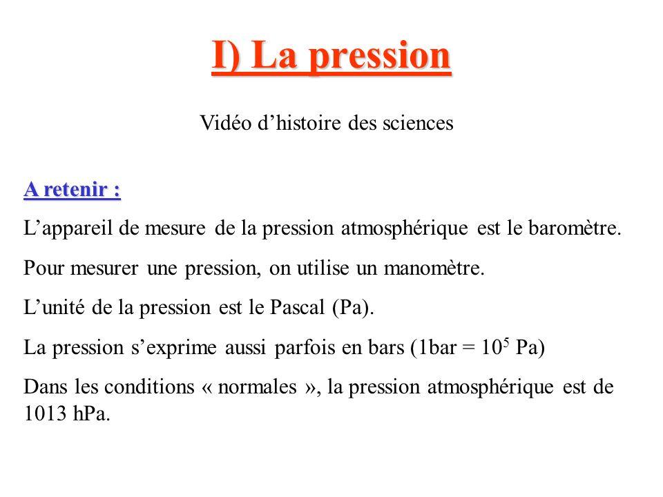 I) La pression Vidéo dhistoire des sciences A retenir : Lappareil de mesure de la pression atmosphérique est le baromètre. Pour mesurer une pression,