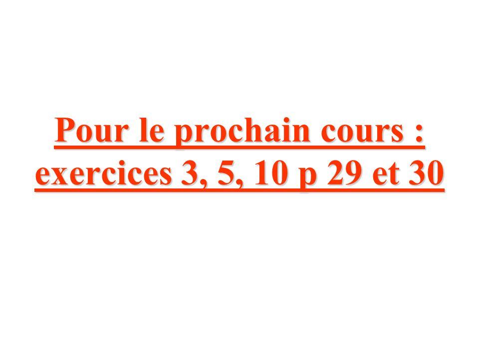 Pour le prochain cours : exercices 3, 5, 10 p 29 et 30