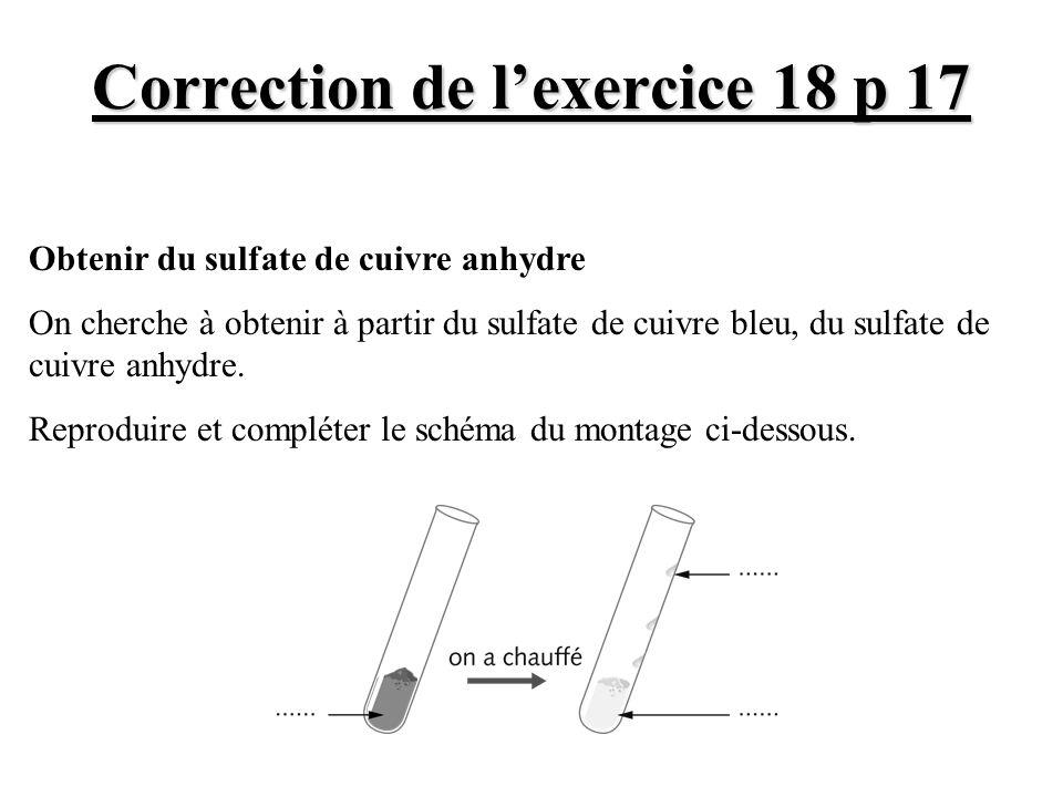 Correction de lexercice 18 p 17 Obtenir du sulfate de cuivre anhydre On cherche à obtenir à partir du sulfate de cuivre bleu, du sulfate de cuivre anh