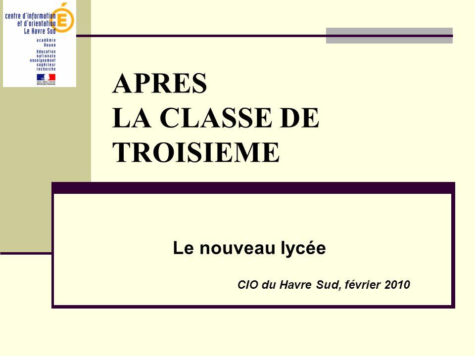 APRES LA CLASSE DE TROISIEME Le nouveau lycée CIO du Havre Sud, février 2010