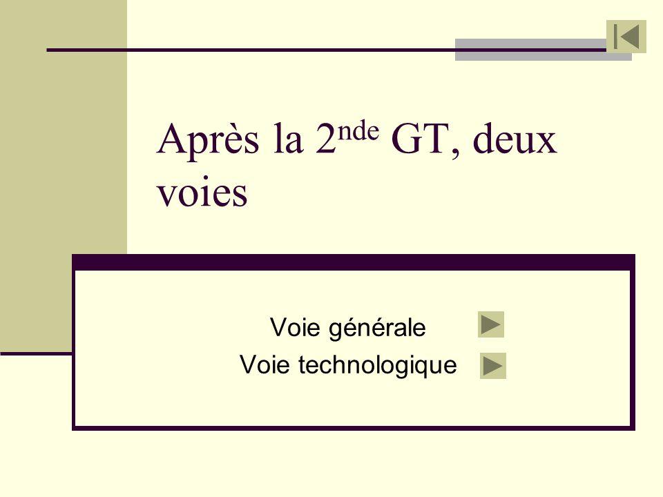 Après la 2 nde GT, deux voies Voie générale Voie technologique