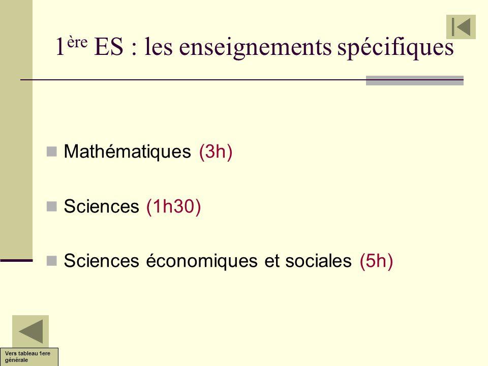 1 ère ES : les enseignements spécifiques Mathématiques (3h) Sciences (1h30) Sciences économiques et sociales (5h) Vers tableau 1ere générale