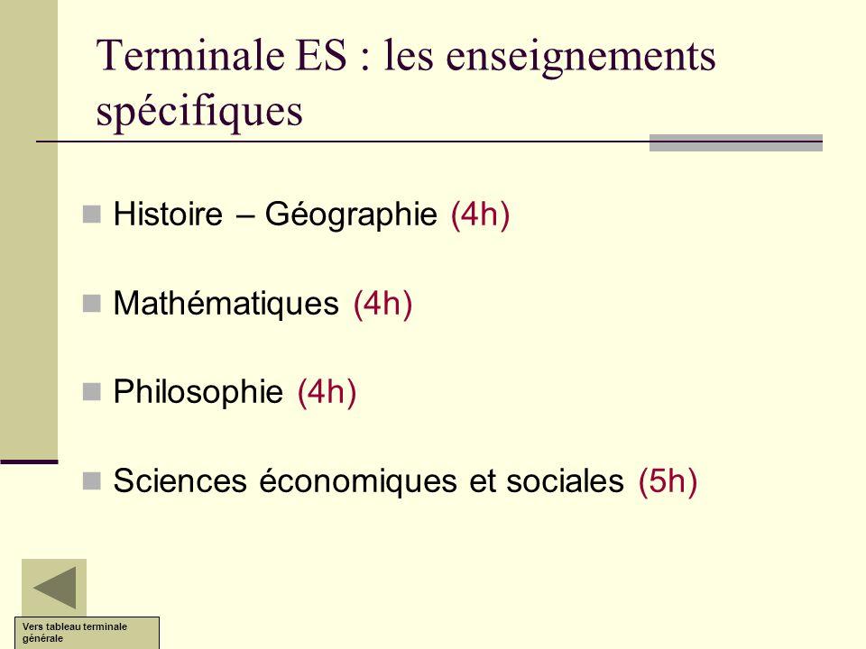 Terminale ES : les enseignements spécifiques Histoire – Géographie (4h) Mathématiques (4h) Philosophie (4h) Sciences économiques et sociales (5h) Vers
