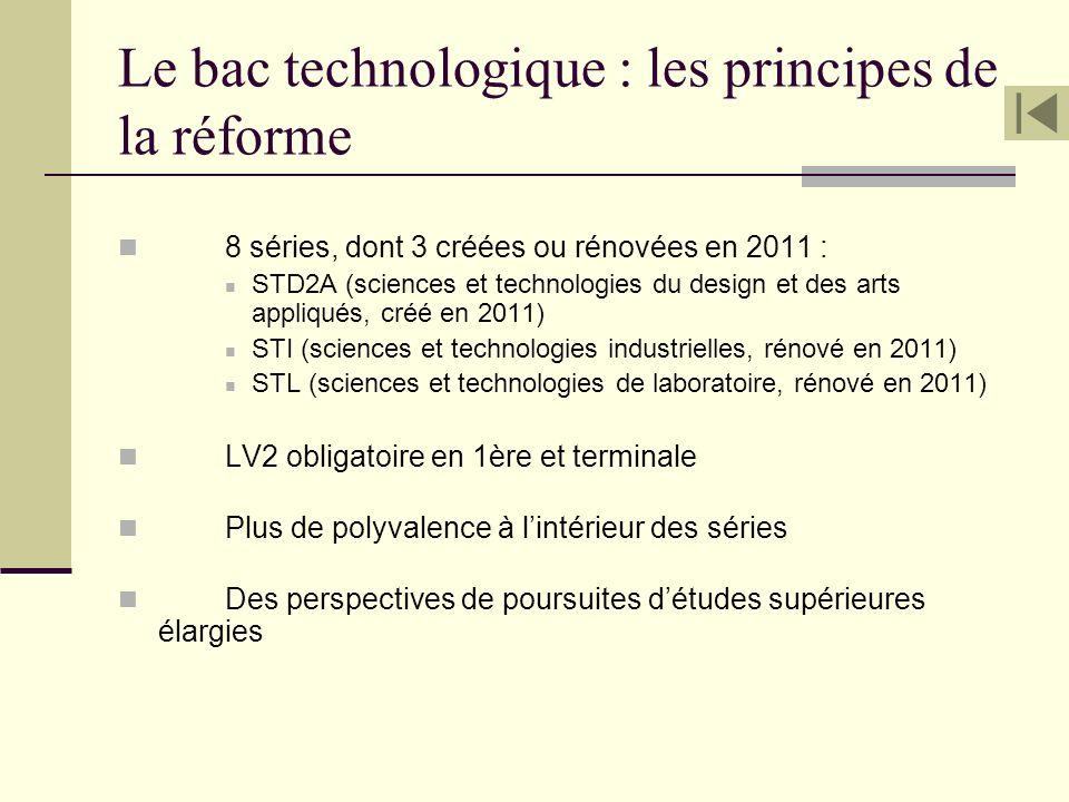 Le bac technologique : les principes de la réforme 8 séries, dont 3 créées ou rénovées en 2011 : STD2A (sciences et technologies du design et des arts