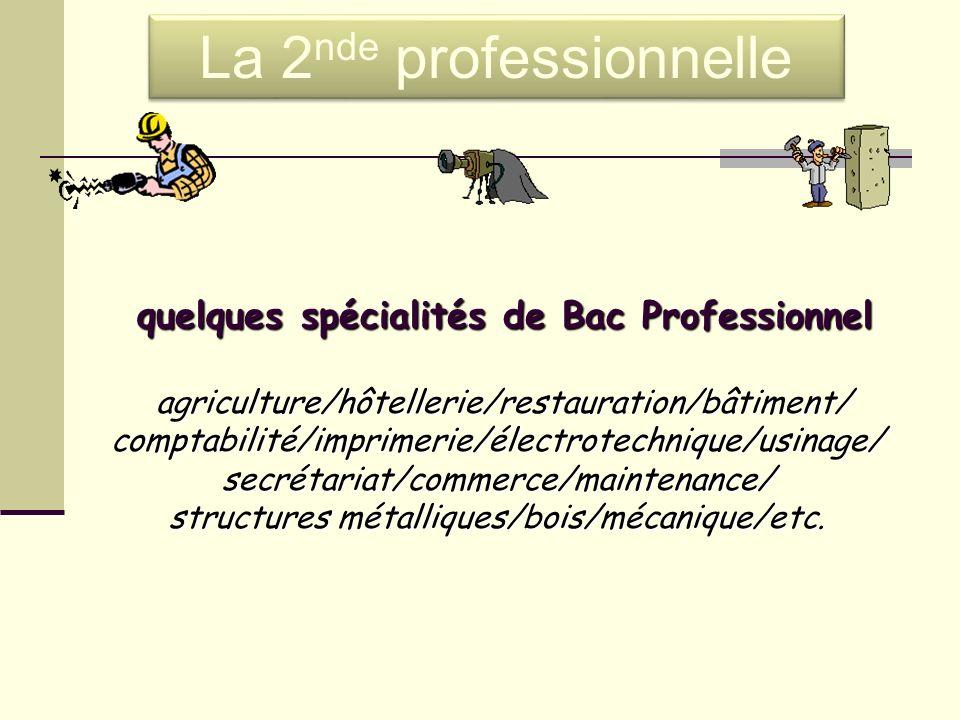 quelques spécialités de Bac Professionnel quelques spécialités de Bac Professionnel agriculture/hôtellerie/restauration/bâtiment/ agriculture/hôteller