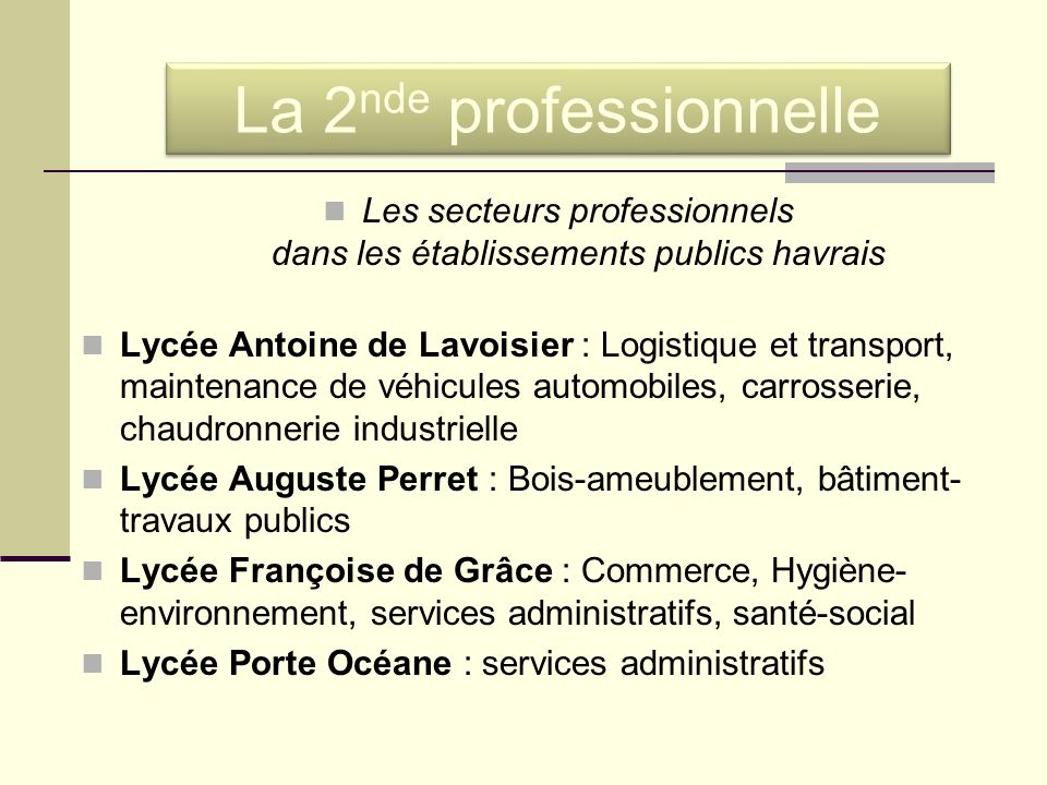 Les secteurs professionnels dans les établissements publics havrais Lycée Antoine de Lavoisier : Logistique et transport, maintenance de véhicules aut