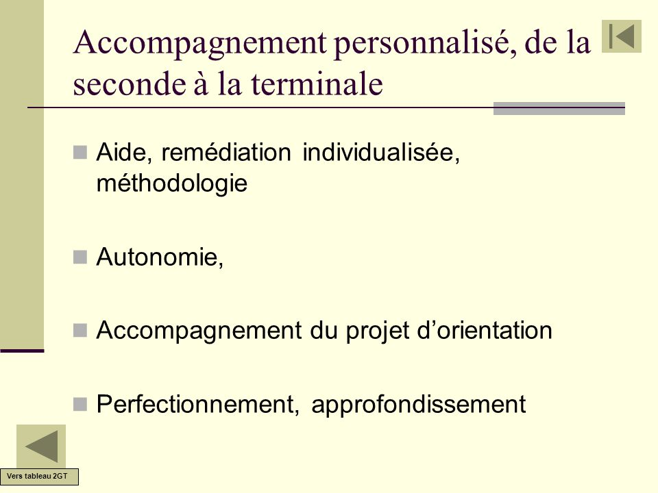 Accompagnement personnalisé, de la seconde à la terminale Aide, remédiation individualisée, méthodologie Autonomie, Accompagnement du projet dorientat