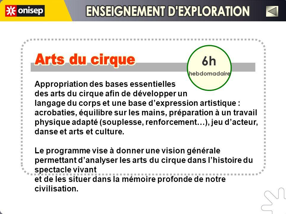 6h hebdomadaire Appropriation des bases essentielles des arts du cirque afin de développer un langage du corps et une base dexpression artistique : ac
