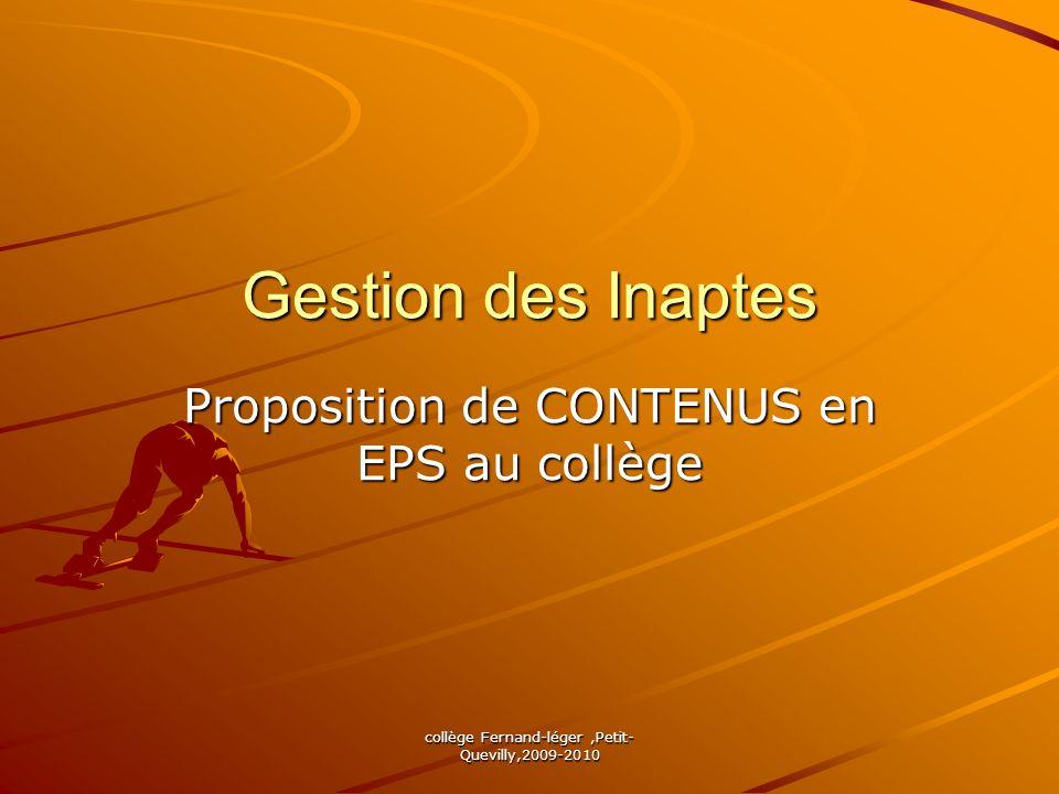 collège Fernand-léger,Petit- Quevilly,2009-2010 Gestion des Inaptes Proposition de CONTENUS en EPS au collège