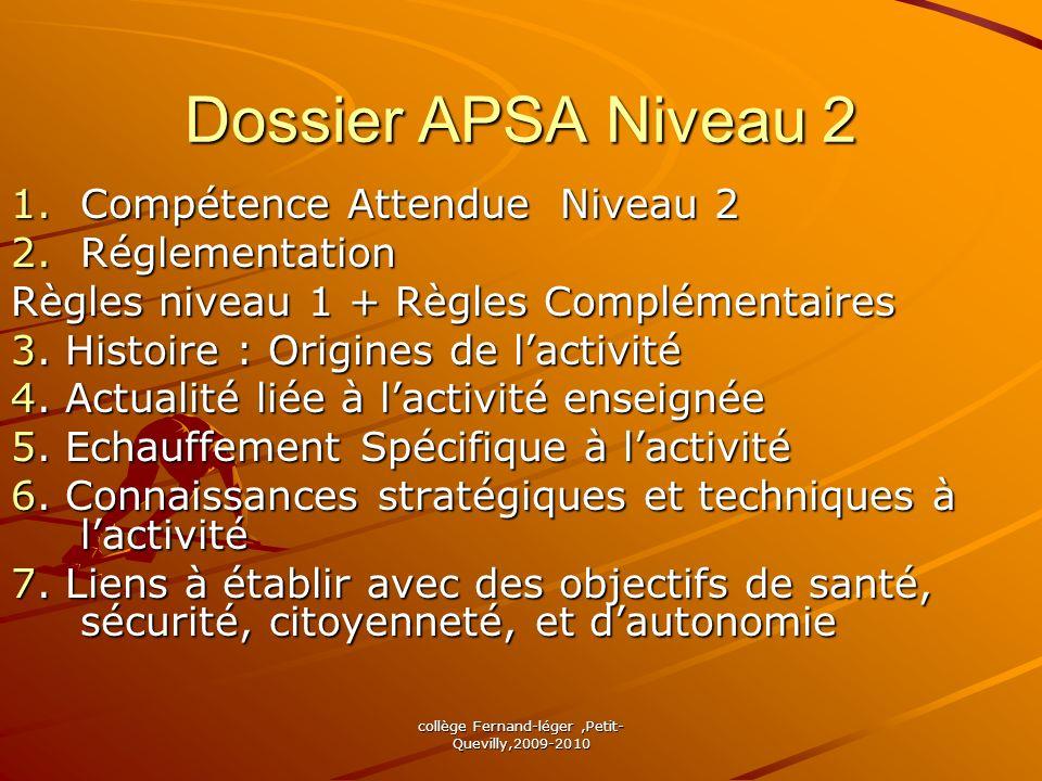 collège Fernand-léger,Petit- Quevilly,2009-2010 Dossier APSA Niveau 2 1.Compétence Attendue Niveau 2 2.Réglementation Règles niveau 1 + Règles Complém