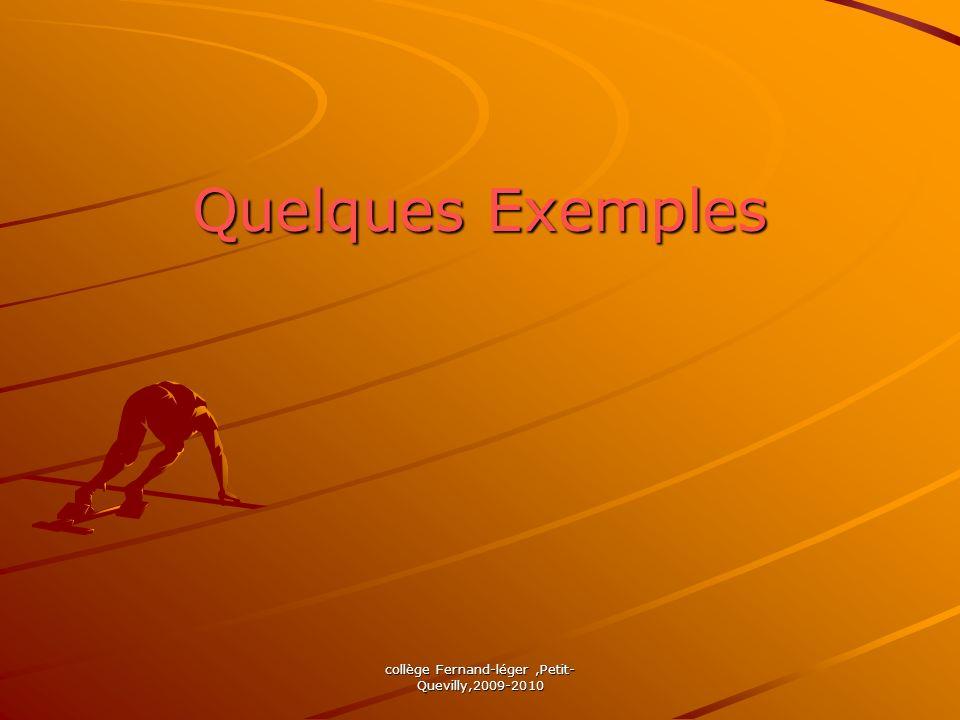 collège Fernand-léger,Petit- Quevilly,2009-2010 Quelques Exemples
