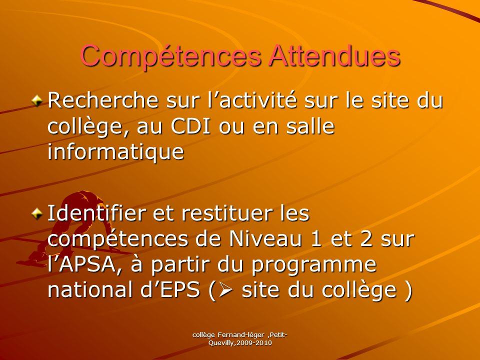 collège Fernand-léger,Petit- Quevilly,2009-2010 Compétences Attendues Recherche sur lactivité sur le site du collège, au CDI ou en salle informatique