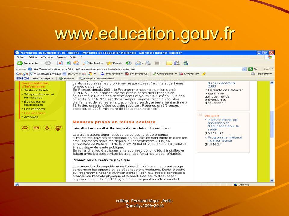 collège Fernand-léger,Petit- Quevilly,2009-2010 www.education.gouv.fr