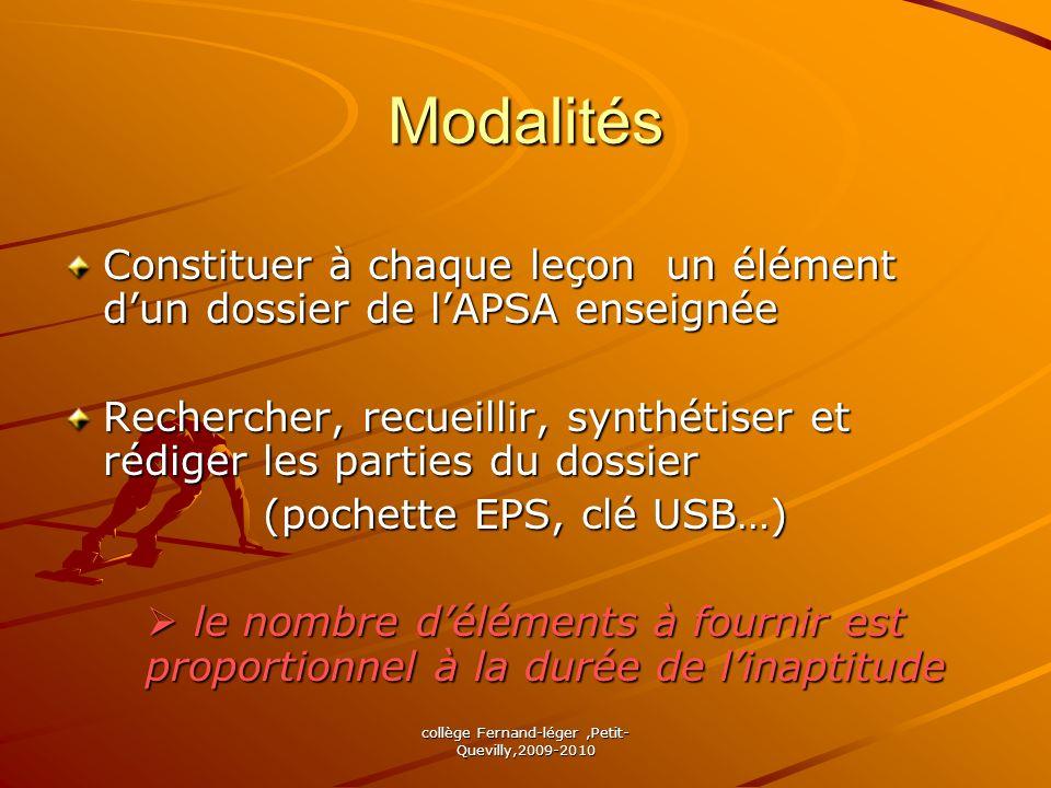 collège Fernand-léger,Petit- Quevilly,2009-2010 Modalités Constituer à chaque leçon un élément dun dossier de lAPSA enseignée Rechercher, recueillir,