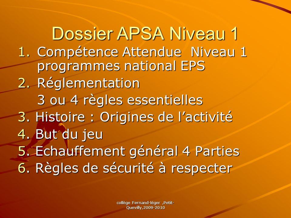 collège Fernand-léger,Petit- Quevilly,2009-2010 Dossier APSA Niveau 2 1.Compétence Attendue Niveau 2 2.Réglementation Règles niveau 1 + Règles Complémentaires 3.
