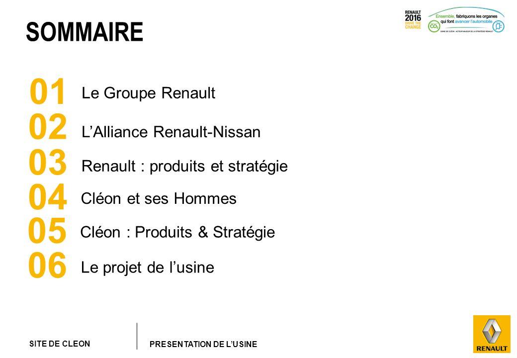 SITE DE CLEON PRESENTATION DE LUSINE SOMMAIRE 01 02 04 06 Le Groupe Renault LAlliance Renault-Nissan Cléon et ses Hommes Le projet de lusine 03 Renaul