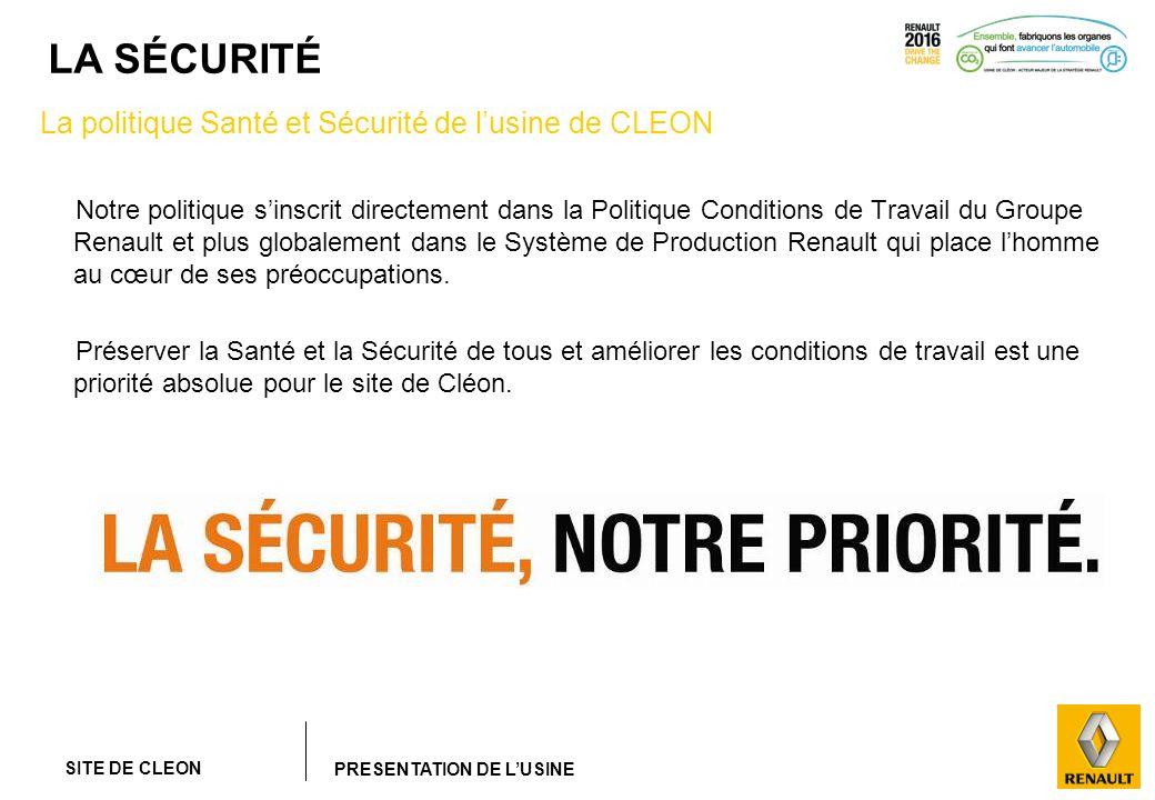 SITE DE CLEON PRESENTATION DE LUSINE LA SÉCURITÉ Notre politique sinscrit directement dans la Politique Conditions de Travail du Groupe Renault et plu