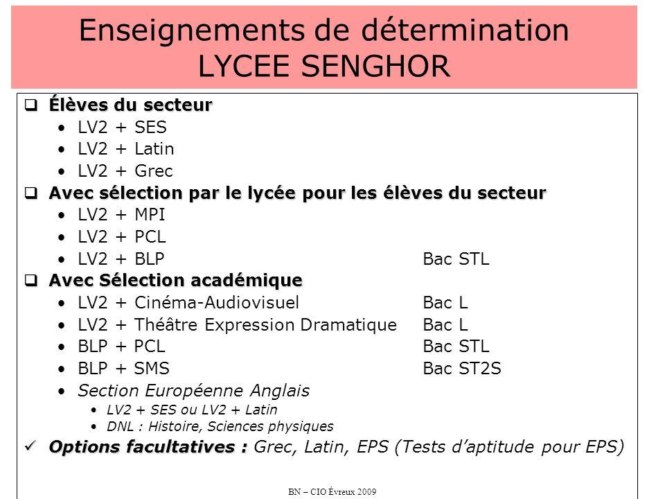 BN – CIO Évreux 2009 Enseignements de détermination LYCEE SENGHOR Élèves du secteur Élèves du secteur LV2 + SES LV2 + Latin LV2 + Grec Avec sélection