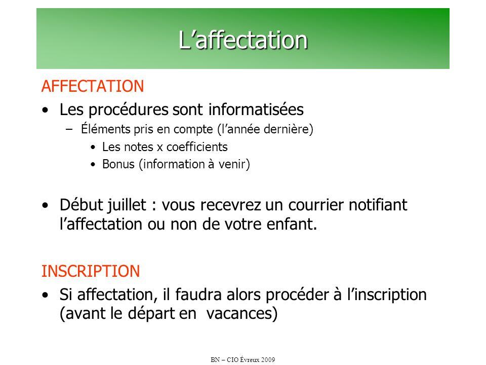 BN – CIO Évreux 2009 Laffectation AFFECTATION Les procédures sont informatisées –Éléments pris en compte (lannée dernière) Les notes x coefficients Bo