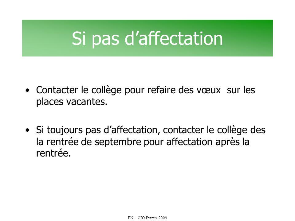 BN – CIO Évreux 2009 Si pas daffectation Contacter le collège pour refaire des vœux sur les places vacantes. Si toujours pas daffectation, contacter l