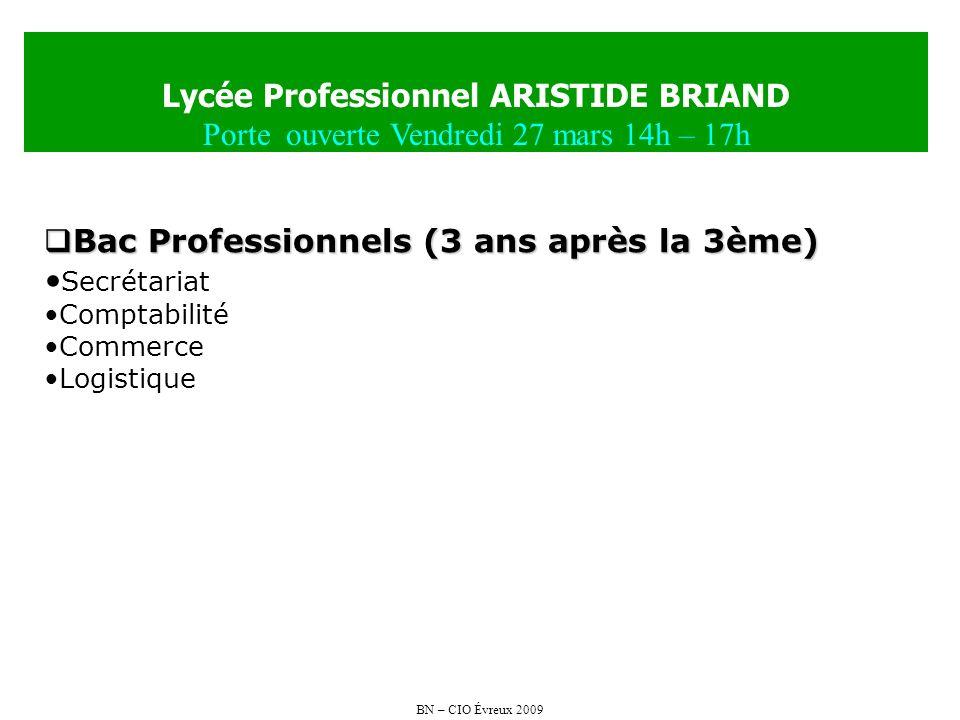 BN – CIO Évreux 2009 Lycée Professionnel ARISTIDE BRIAND Porte ouverte Vendredi 27 mars 14h – 17h Bac Professionnels (3 ans après la 3ème) Bac Profess