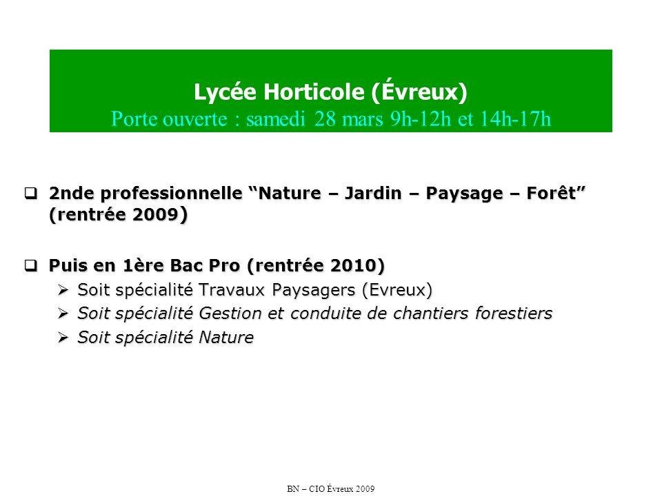 BN – CIO Évreux 2009 Lycée Horticole (Évreux) Porte ouverte : samedi 28 mars 9h-12h et 14h-17h 2nde professionnelle Nature – Jardin – Paysage – Forêt