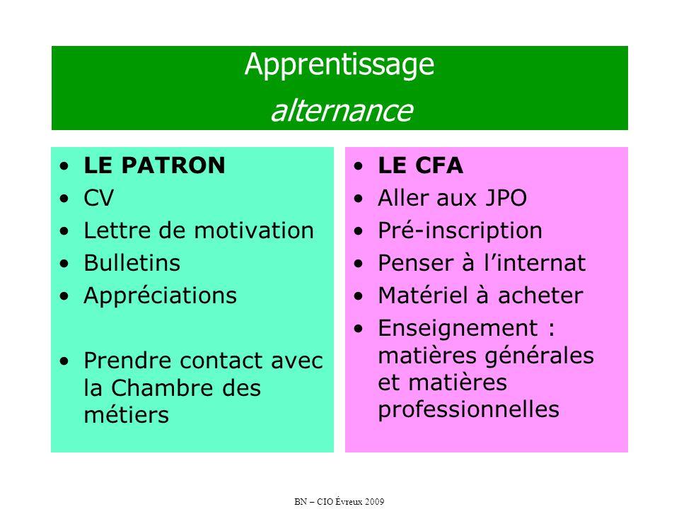 BN – CIO Évreux 2009 Apprentissage alternance LE PATRON CV Lettre de motivation Bulletins Appréciations Prendre contact avec la Chambre des métiers LE