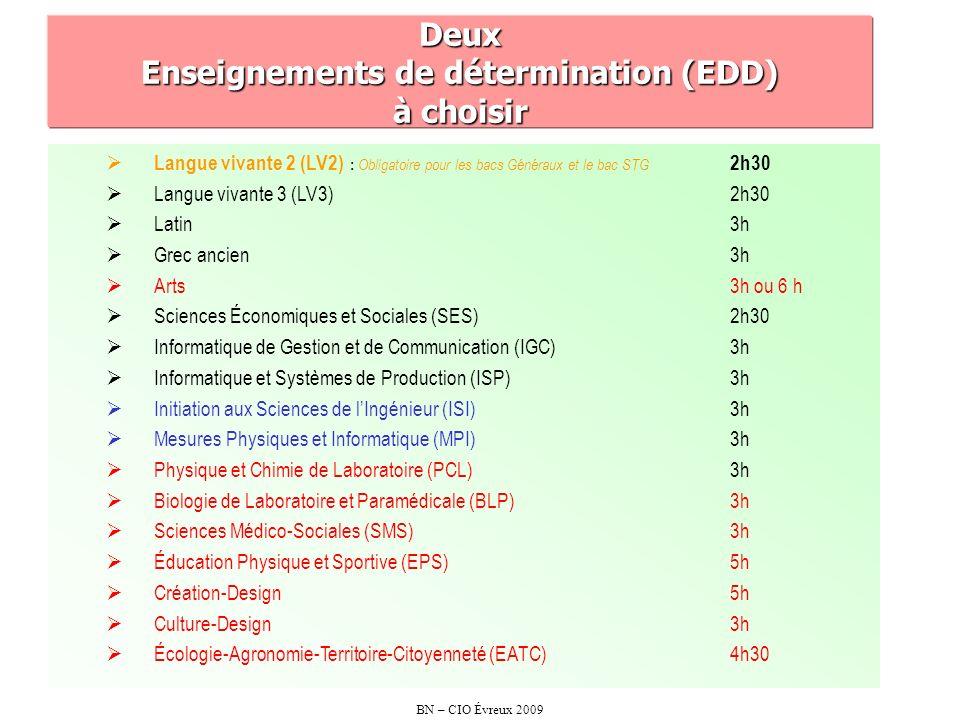 BN – CIO Évreux 2009 RESUMONS .1 - LV2 obligatoire pour les bacs généraux et le bac STG.