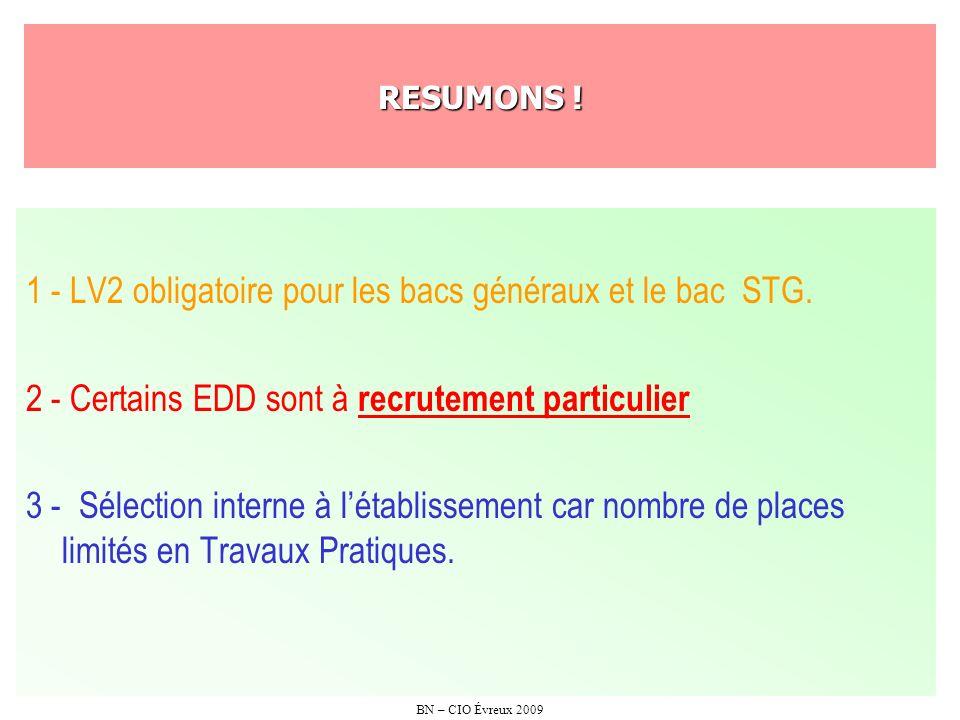 BN – CIO Évreux 2009 RESUMONS ! 1 - LV2 obligatoire pour les bacs généraux et le bac STG. 2 - Certains EDD sont à recrutement particulier 3 - Sélectio