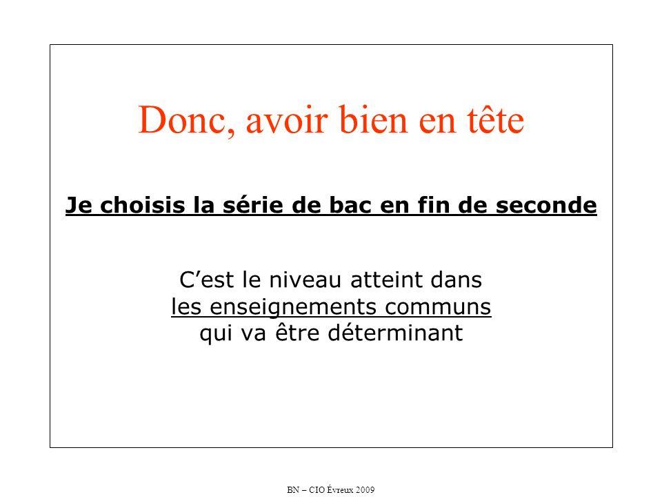 BN – CIO Évreux 2009 Donc, avoir bien en tête Je choisis la série de bac en fin de seconde Cest le niveau atteint dans les enseignements communs qui v