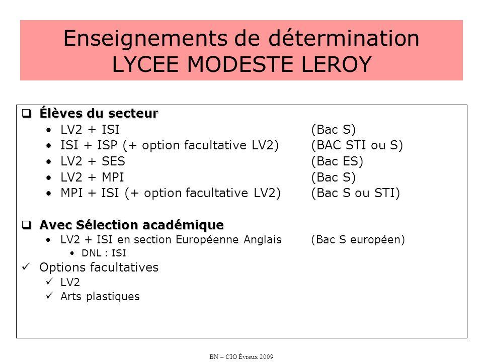 BN – CIO Évreux 2009 Enseignements de détermination LYCEE MODESTE LEROY Élèves du secteur Élèves du secteur LV2 + ISI (Bac S) ISI + ISP (+ option facu