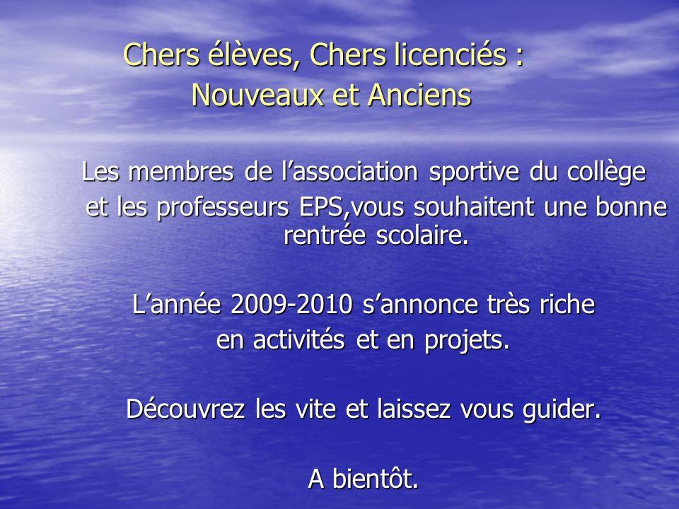 Ce quil faut savoir : Ce quil faut savoir : Dans tous les collèges et lycées publics et privés de France existent des associations sportives.