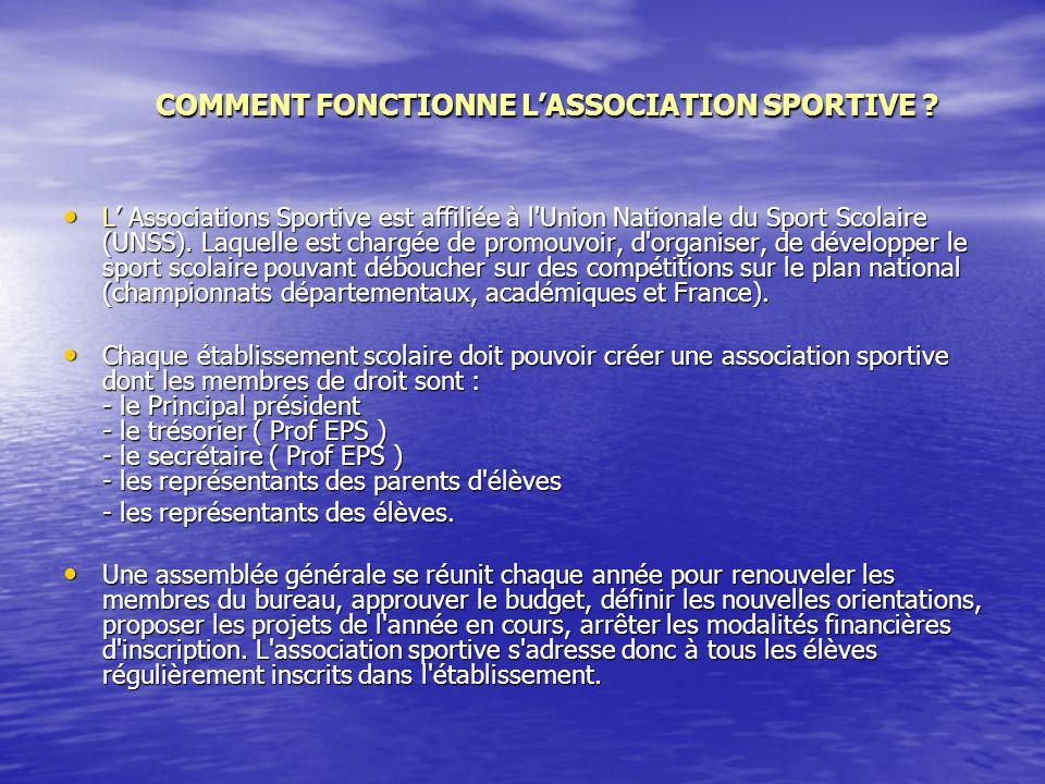COMMENT FONCTIONNE LASSOCIATION SPORTIVE .