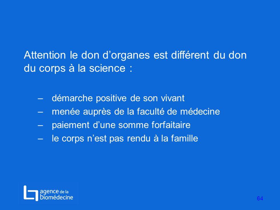 Attention le don dorganes est différent du don du corps à la science : –démarche positive de son vivant –menée auprès de la faculté de médecine –paiem