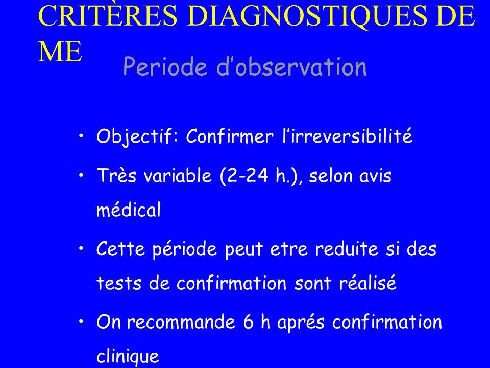 CRITÈRES DIAGNOSTIQUES DE ME Objectif: Confirmer lirreversibilité Très variable (2-24 h.), selon avis médical Cette période peut etre reduite si des t