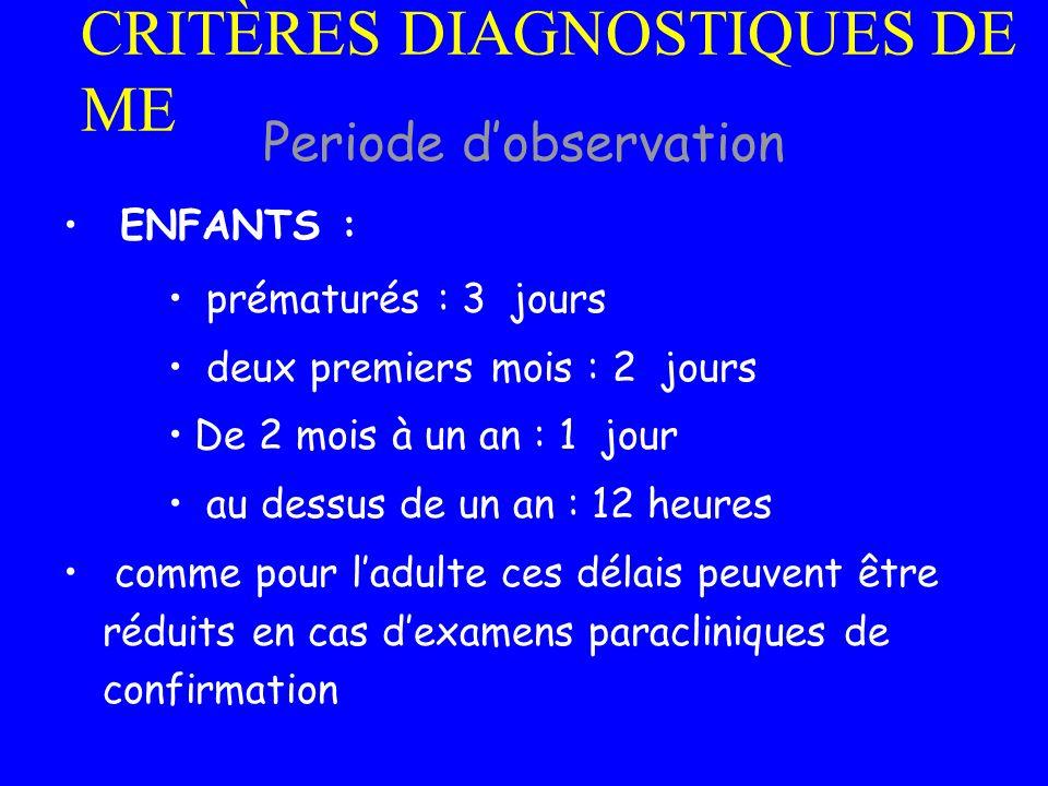 ENFANTS : prématurés : 3 jours deux premiers mois : 2 jours De 2 mois à un an : 1 jour au dessus de un an : 12 heures comme pour ladulte ces délais pe