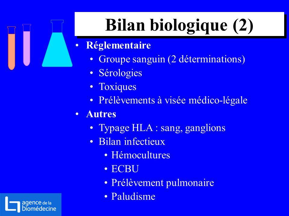 Réglementaire Groupe sanguin (2 déterminations) Sérologies Toxiques Prélèvements à visée médico-légale Autres Typage HLA : sang, ganglions Bilan infec