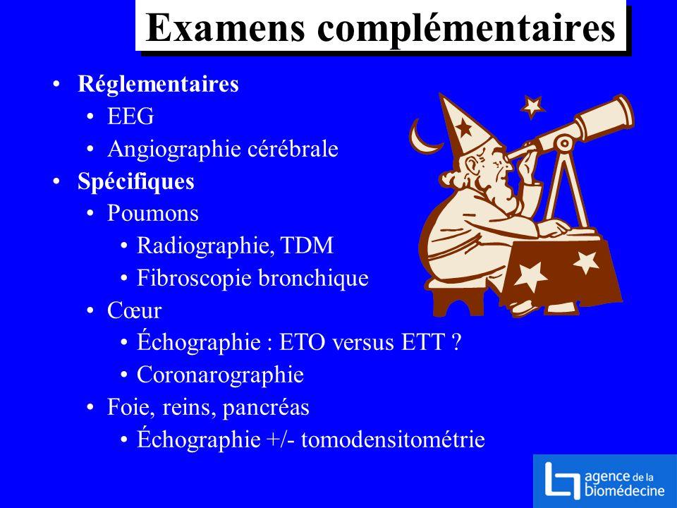 Réglementaires EEG Angiographie cérébrale Spécifiques Poumons Radiographie, TDM Fibroscopie bronchique Cœur Échographie : ETO versus ETT ? Coronarogra