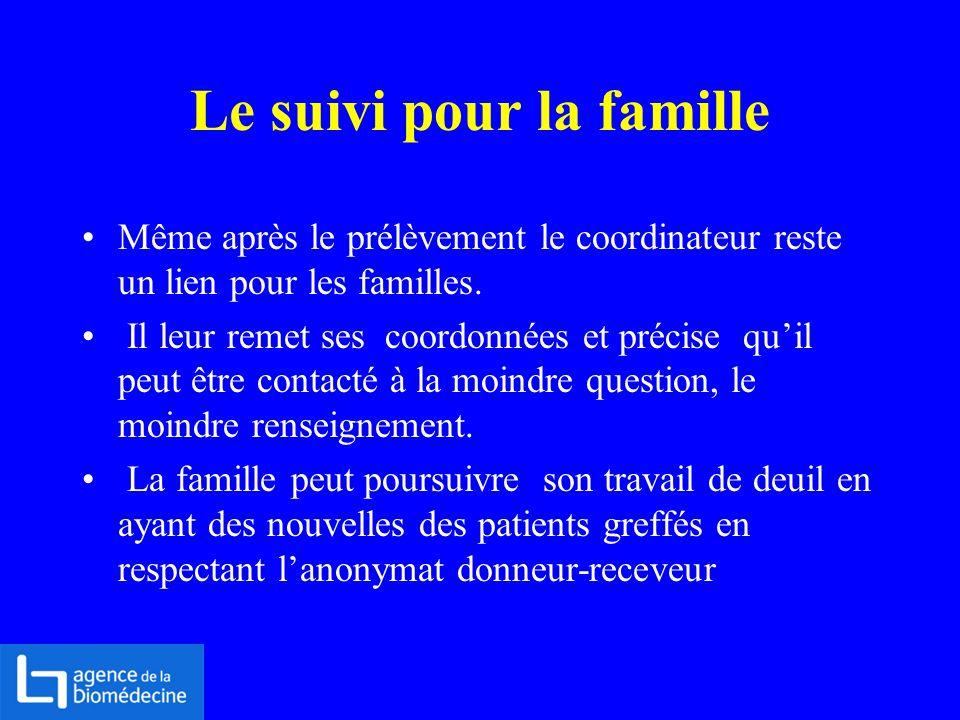 Le suivi pour la famille Même après le prélèvement le coordinateur reste un lien pour les familles. Il leur remet ses coordonnées et précise quil peut