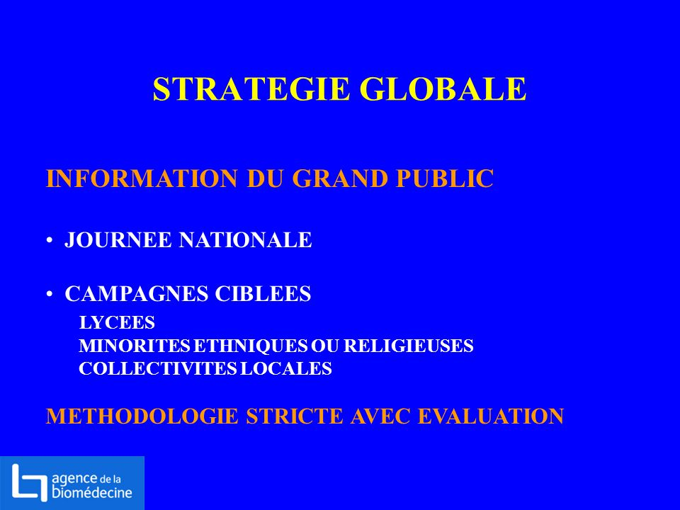 STRATEGIE GLOBALE INFORMATION DU GRAND PUBLIC JOURNEE NATIONALE CAMPAGNES CIBLEES LYCEES MINORITES ETHNIQUES OU RELIGIEUSES COLLECTIVITES LOCALES METH